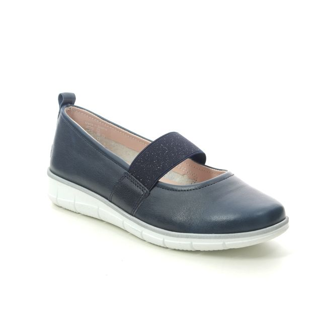 Relaxshoe Mary Jane Shoes - Navy Leather - 516004/72 NAOMI  BAR