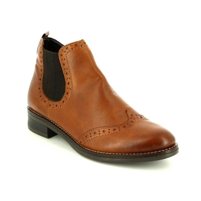 Remonte Brogue 72 D8581-24 Tan Chelsea Boots