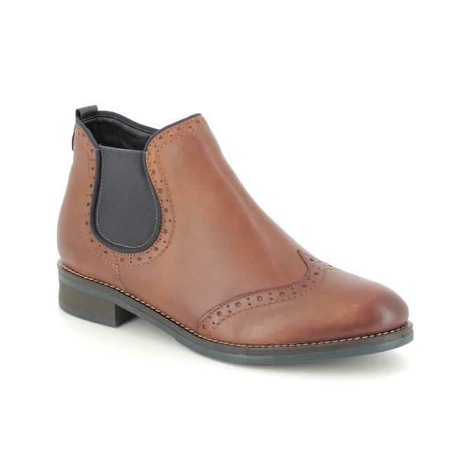 Remonte Chelsea Boots - Tan Leather - D8581-25 BROGUE 85