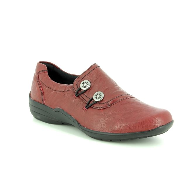 Remonte Comfort Slip On Shoes - Red leather - R7620-35 EMBRACE CHARM