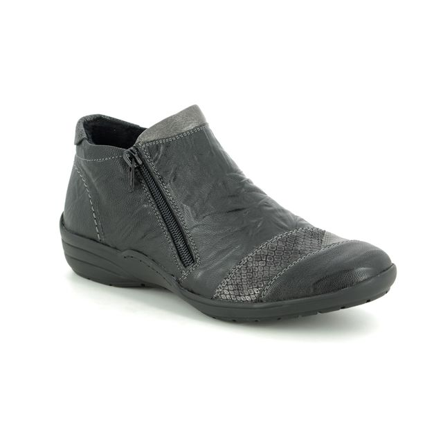 Remonte Embrace Zip R7671-01 Black leather Ankle Boots