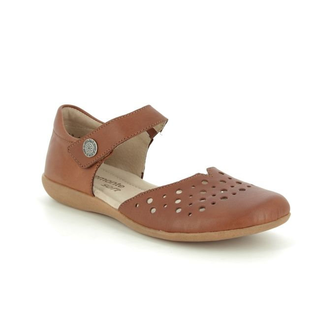 Remonte Mary Jane Shoes - Tan Leather  - R3851-22 FIONA VEL