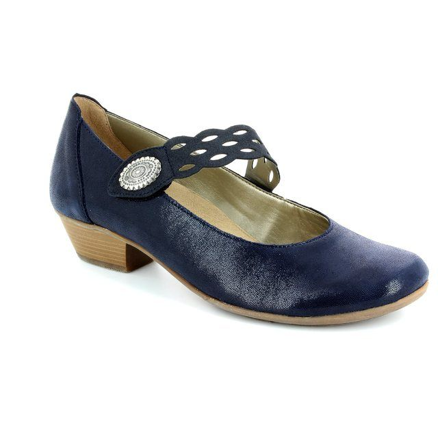 Remonte Millstra D7345-14 Navy patent-suede heeled shoes