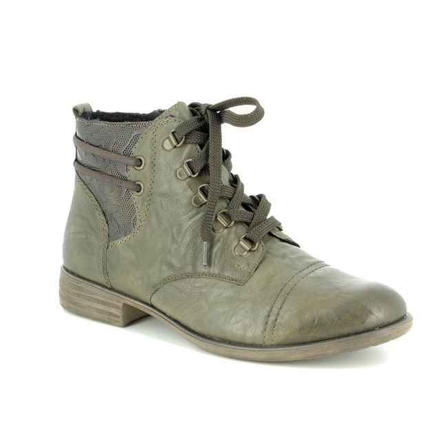 Remonte Peelace D4977-54 Olive leather ankle boots