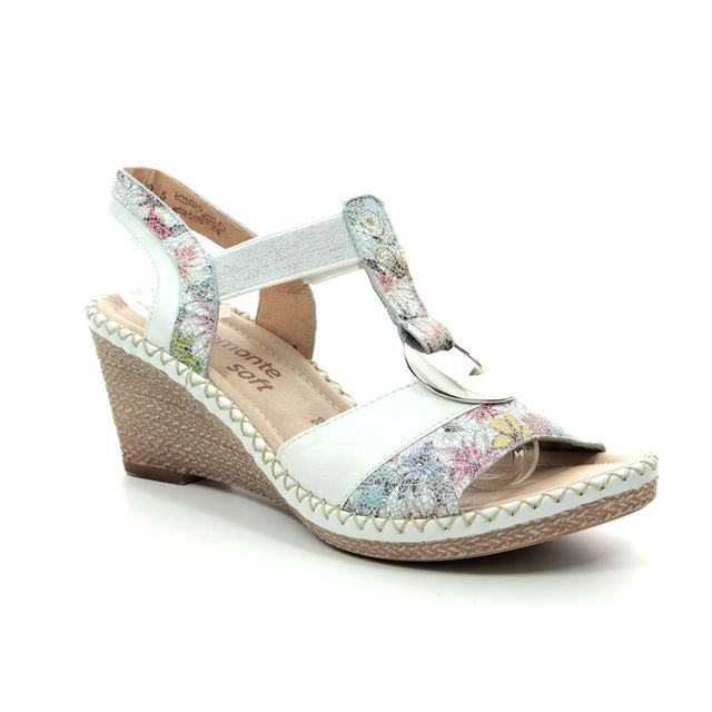 Remonte Wedge Sandals - White multi - D6762-91 ROBFLO