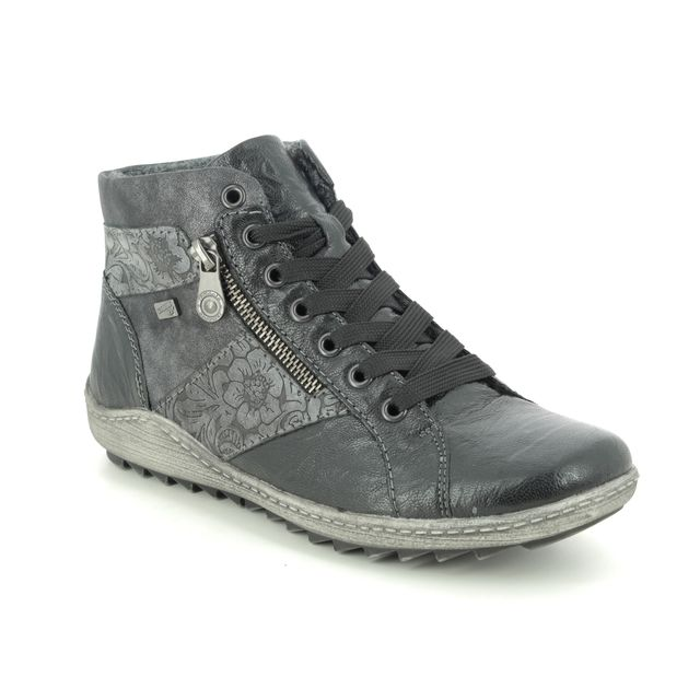 Remonte Ziginzip Tex R1497-45 Black leather Lace Up Boots