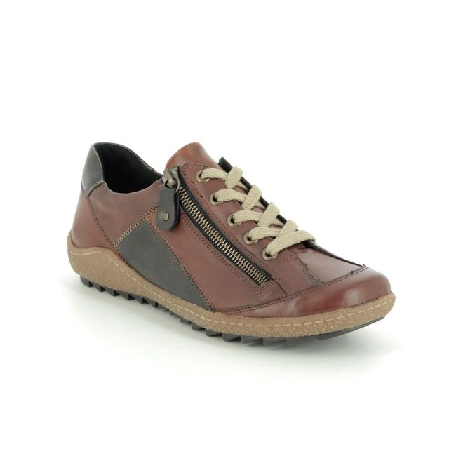 Remonte Lacing Shoes - Tan Leather  - R4702-24 ZIGPATCH