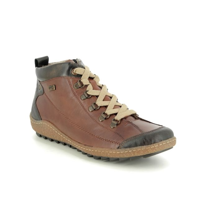 Remonte Lace Up Boots - Tan Leather - R4779-25 ZIGSEIBEL TEX