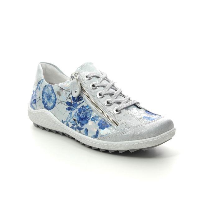 Remonte Lacing Shoes - Blue Floral - R1402-92 ZIGZIP 81