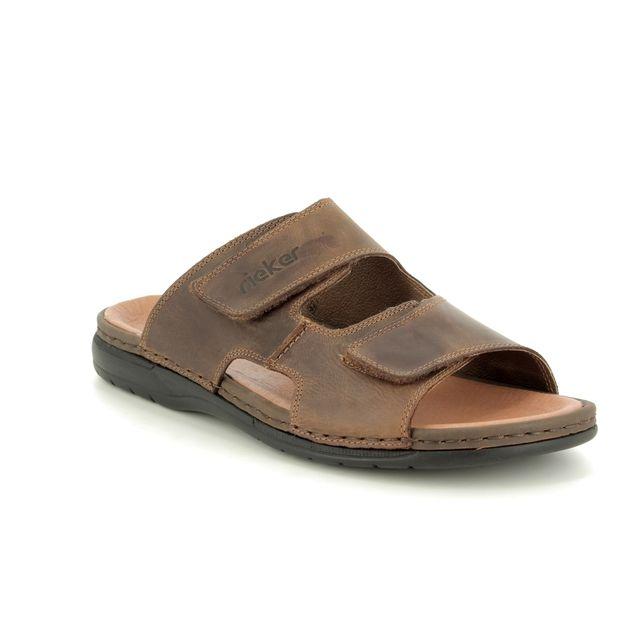 Rieker Sandals - Brown - 25592-25 SLIDE VELCRO