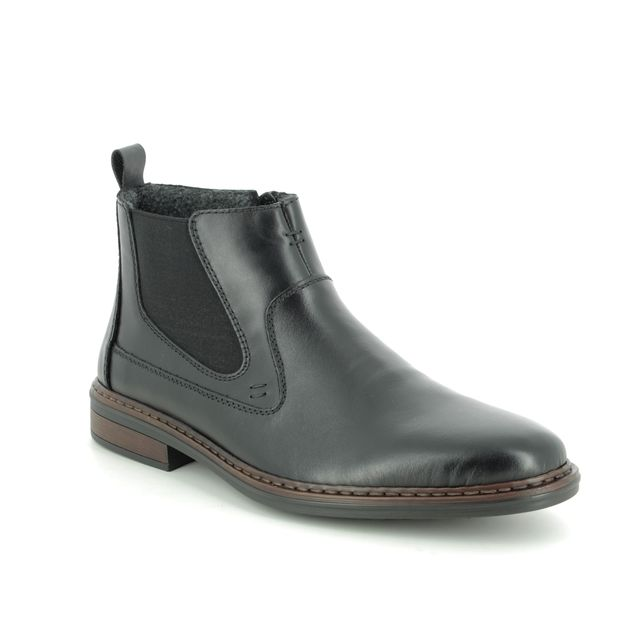 Rieker Chelsea Boots - Black leather - 37662-00 RONDON WIDE
