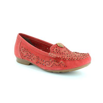 Rieker 40054-33 Red nubuck loafers