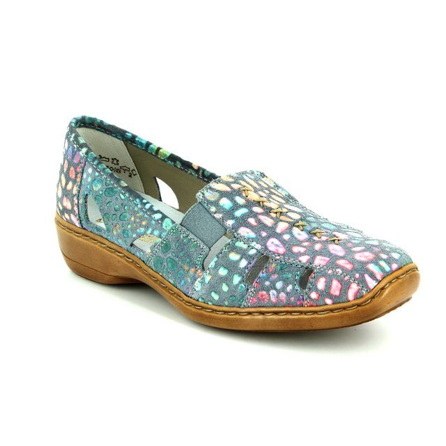 Rieker 41385-10 Blue lacing shoes