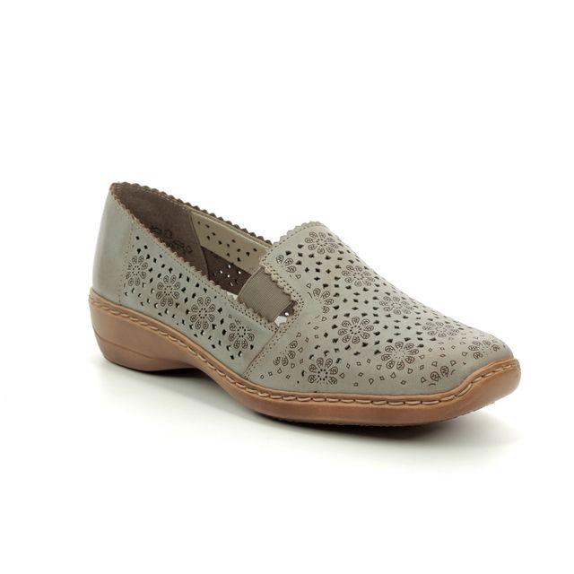 Rieker Comfort Slip On Shoes - Taupe - 413Q5-62 DORISLAZE