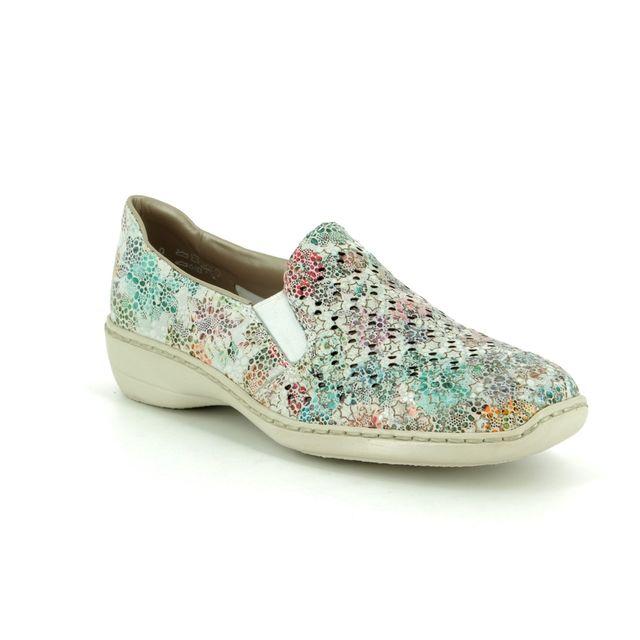 Rieker Comfort Slip On Shoes - Floral print - 413Q6-90 DORISTAR