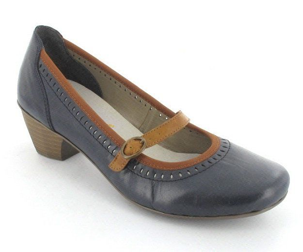 Rieker 41762-14 Navy/tan heeled shoes