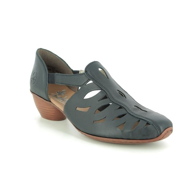 Rieker Comfort Slip On Shoes - Navy leather - 43776-14 MIRANO