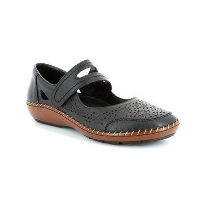 Rieker Mary Jane Shoes - Black - 44875-00 CINDERS