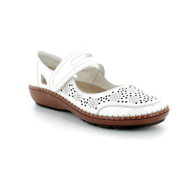 Rieker Mary Jane Shoes - Off white multi - 44875-80 CINDERS