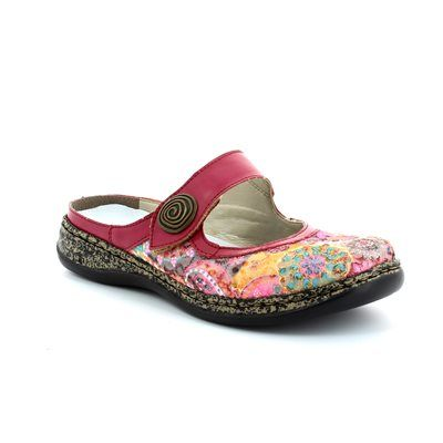 Rieker 46385-91 Pink multi floral or fabric slipper mules