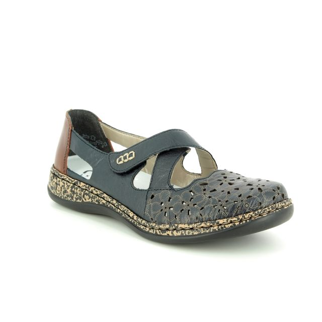 Rieker Mary Jane Shoes - Navy-Tan - 463H4-14 DAISBEK