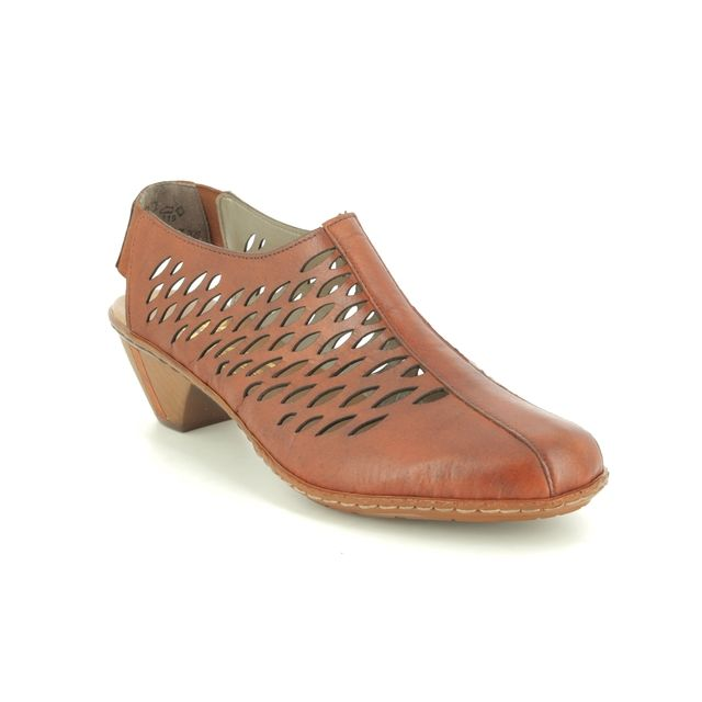 Rieker Comfort Slip On Shoes - Tan Leather  - 46775-24 SINAGA