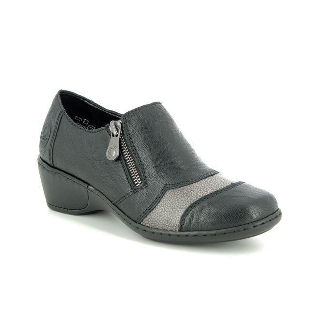 Rieker Comfort Slip On Shoes - Black leather - 47160-00 MORVEN
