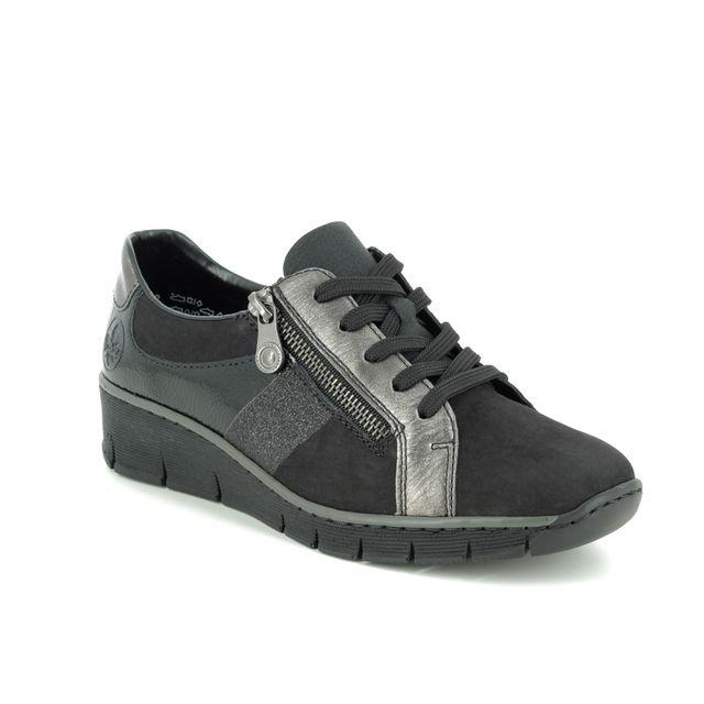 Rieker Lacing Shoes - Black patent suede - 53713-00 BOCCILAPS