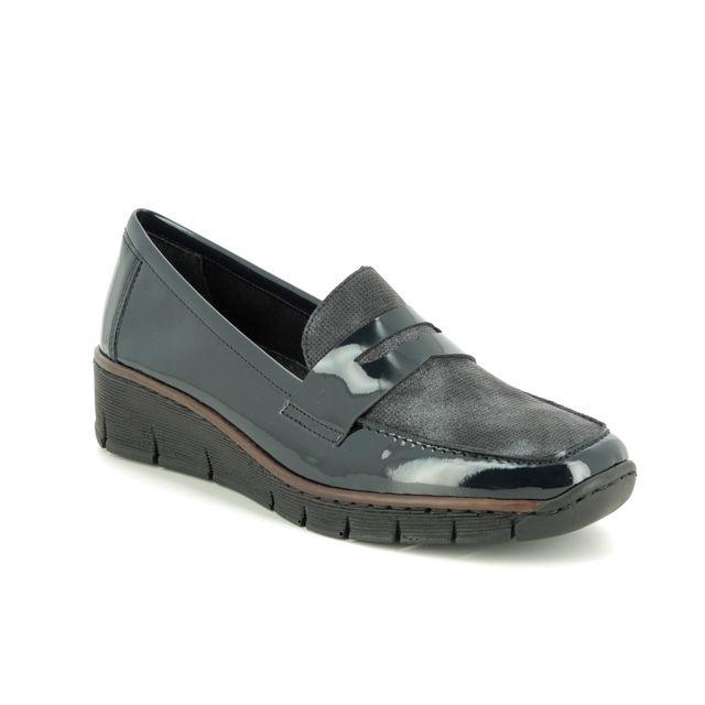 Rieker Comfort Slip On Shoes - Navy patent - 53732-14 BOCCILOAF