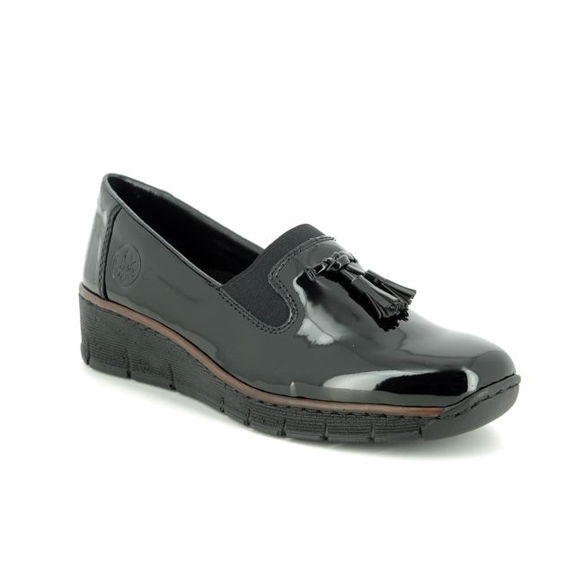 Rieker Comfort Slip On Shoes - Black patent - 53751-00 BOCCILACK