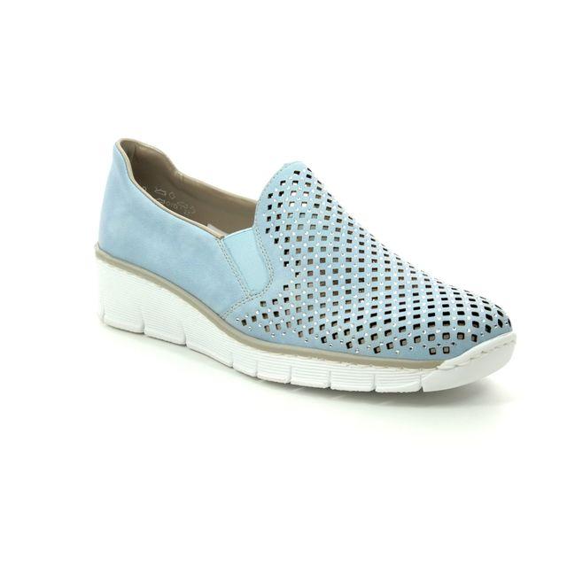 Rieker Comfort Slip On Shoes - Pale blue - 537A6-10 BOCCISTO
