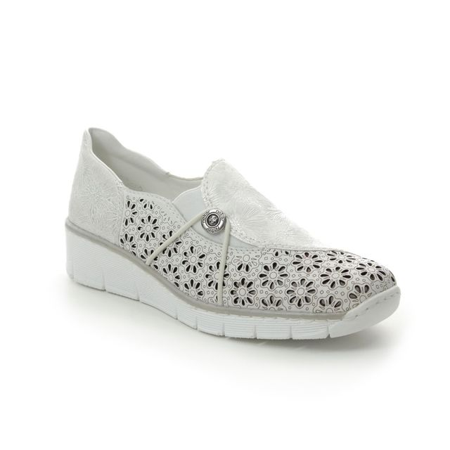 Rieker Comfort Slip On Shoes - White-silver - 537N8-80 BOCCIELA