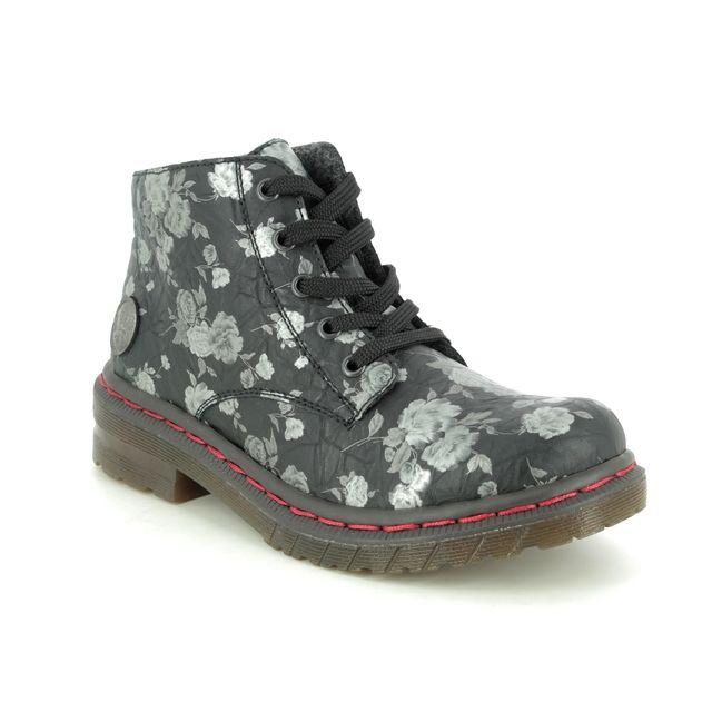 Rieker 56232-00 Black floral Lace Up Boots