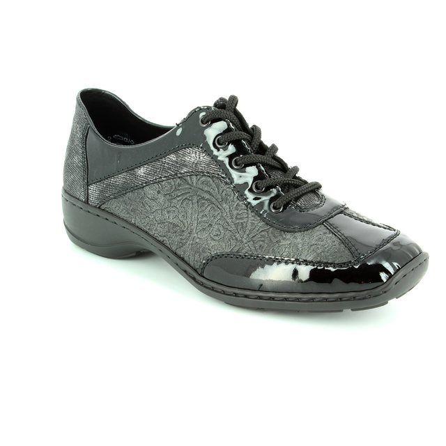 Rieker 58312-00 Black patent lacing shoes
