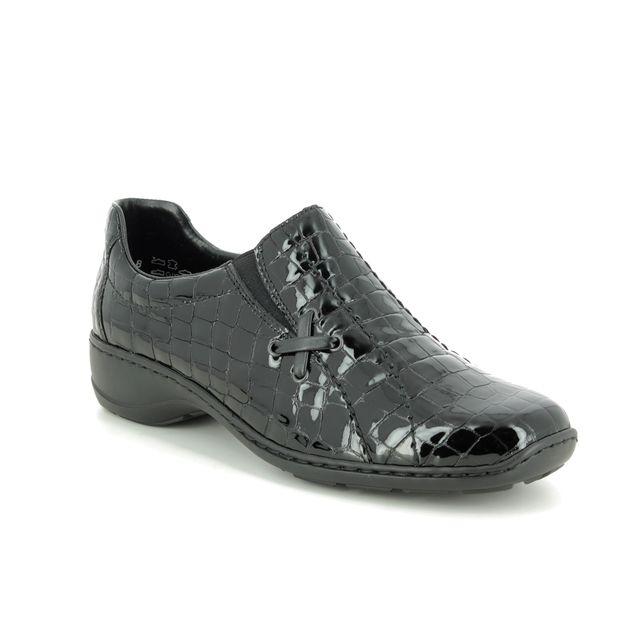 Rieker Comfort Slip On Shoes - Black croc - 58350-00 DORCROX