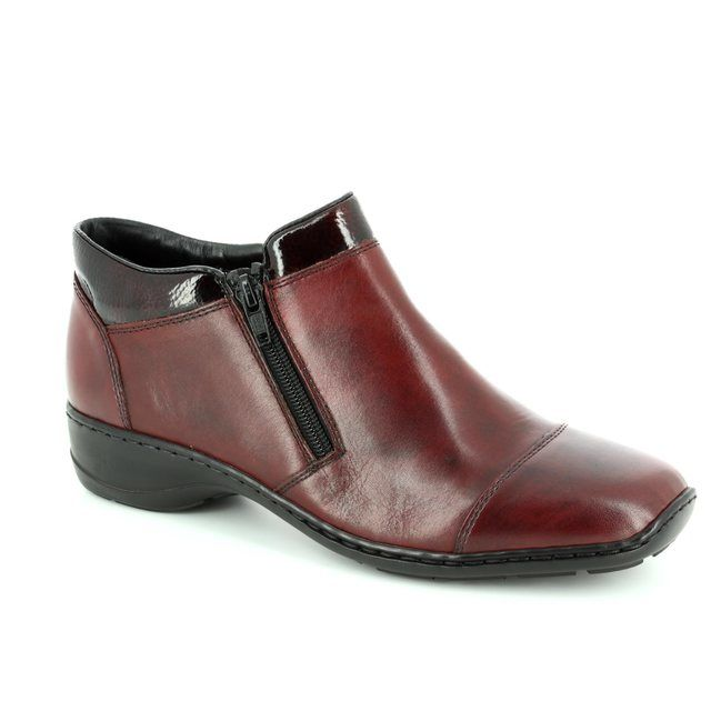 Rieker 58374-35 Wine patent ankle boots