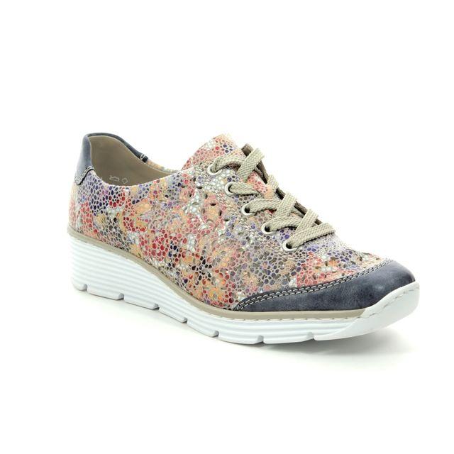Rieker Lacing Shoes - Floral print - 587P7-14 BOCCOLA