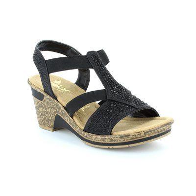 Rieker 60612-00 Black sandals