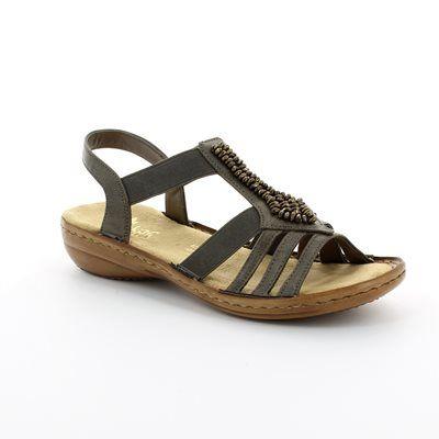 Rieker Sandals - Dark taupe - 60841-45 REGIBEAD