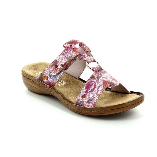 Rieker 608A0-31 Pink multi sandals