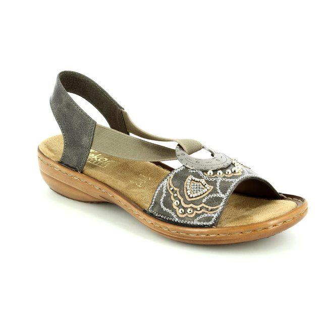 Rieker 608B9-45 Dark taupe sandals