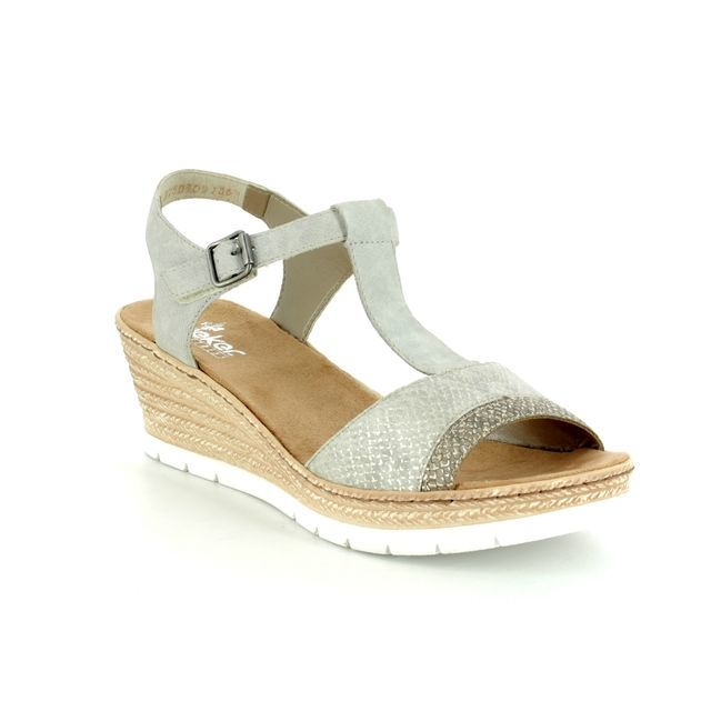 Rieker Wedge Sandals - Silver - 61944-64 FAWNEE