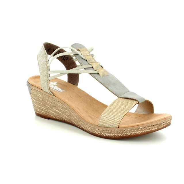 Rieker Wedge Sandals - Gold - 62422-90 FAWLOLA