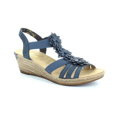 Rieker Wedge Sandals - Navy - 62461-14 FAWN
