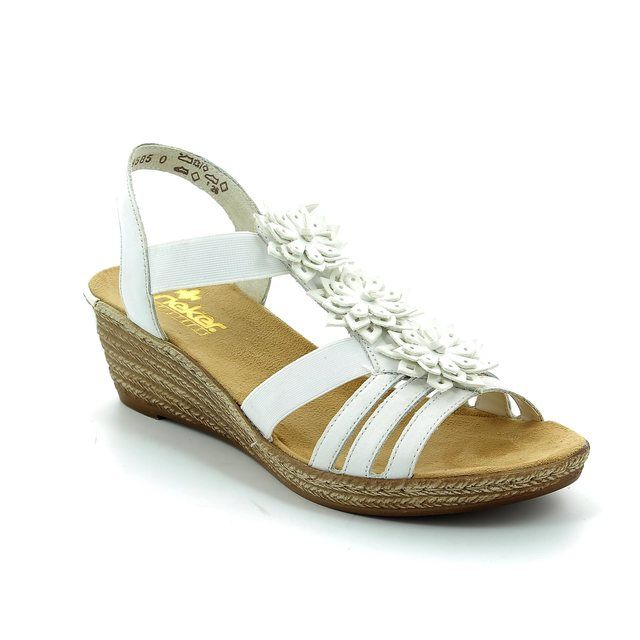 Rieker Wedge Sandals - White - 62461-80 FAWN