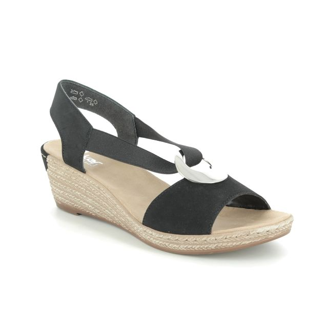 Rieker 624H6-00 Black Wedge Sandals