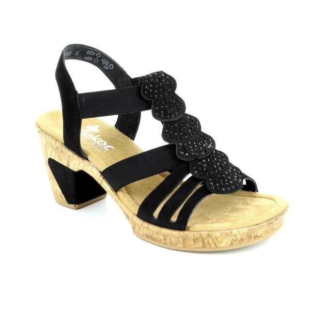 Rieker Sandals - Black - 69702-00 ROBRUFFLE