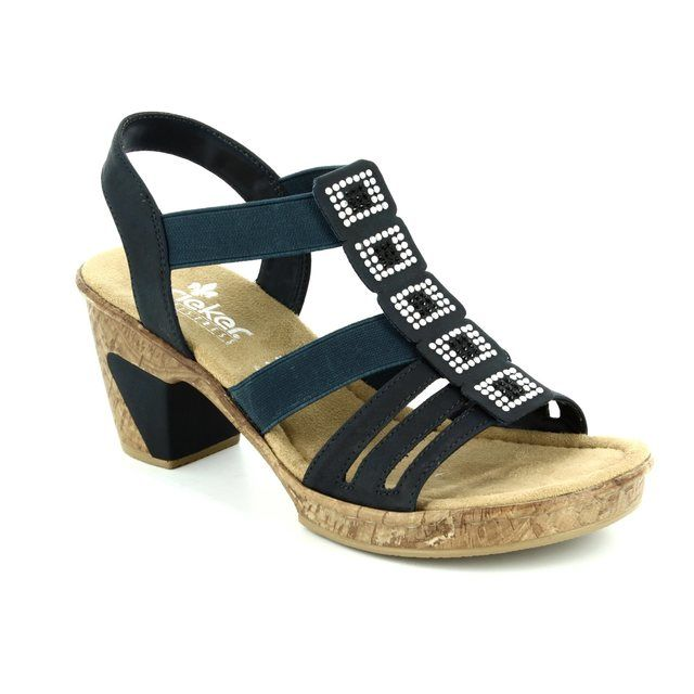 Rieker Heeled Sandals - Navy - 69761-14 ROBSQUARE