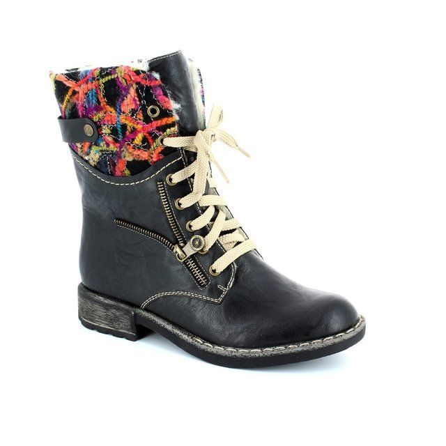 Rieker 74609-00 Black multi ankle boots