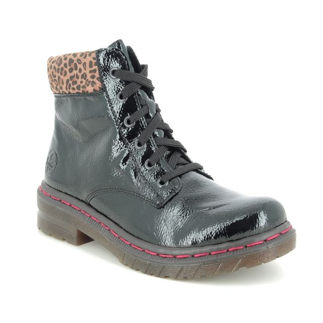 Rieker Lace Up Boots - Black patent - 76212-00 DOCSY LEP